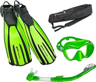 Mares Avanti Quattro Plus Fin Calypso Mask Dry Snorkel Set with Bag, Lime, Regular
