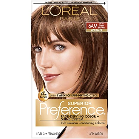 L'Oreal Paris Superior Preference Fade-Defying + Shine Permanent Hair Color, 6AM Light Amber Brown, Pack of 1, Hair Dye