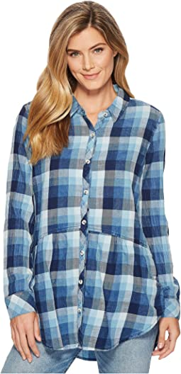 Stone Washed Indigo Plaid Long Sleeve Button Front Shirt w/ Front Pockets
