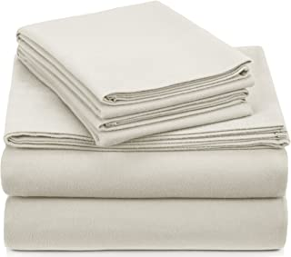 Pinzon Signature Cotton Heavyweight Velvet Flannel Sheet Set - King, Cream