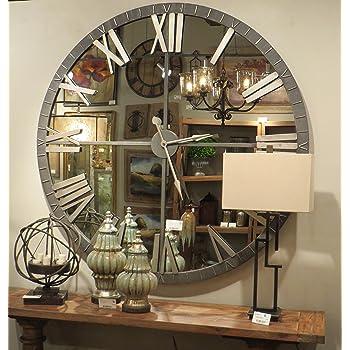 Amazon Com My Swanky Home Xl 60 Mirrored Round Wall Clock Oversize Modern Mirror Glass Home Kitchen