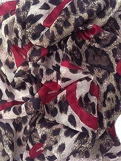 Long Large Rectangle Sheer Chiffon Black Tan Brown w/Burgundy Red Accent Leopard Cheetah Animal Print Scarf Women's Scarves Hijab Shawl Pashmina Headband Bandana 25