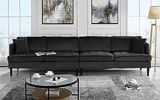 Mid Century Modern Extra Large Velvet Sofa, Living Room Couch (Black)