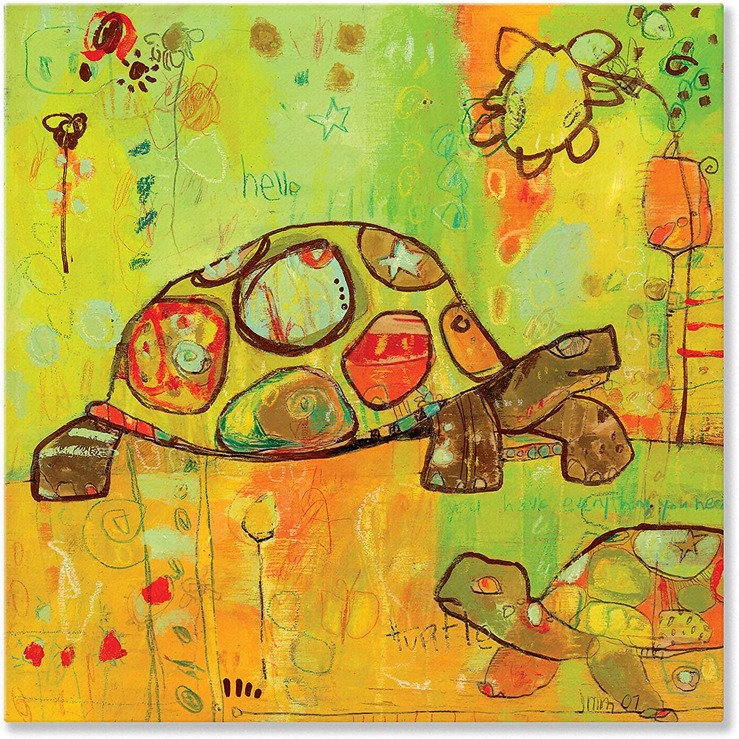 Oopsy Daisy Hello Turtles Stretched Canvas Wall Art by Jennifer Mercede, 30 by 30Inch