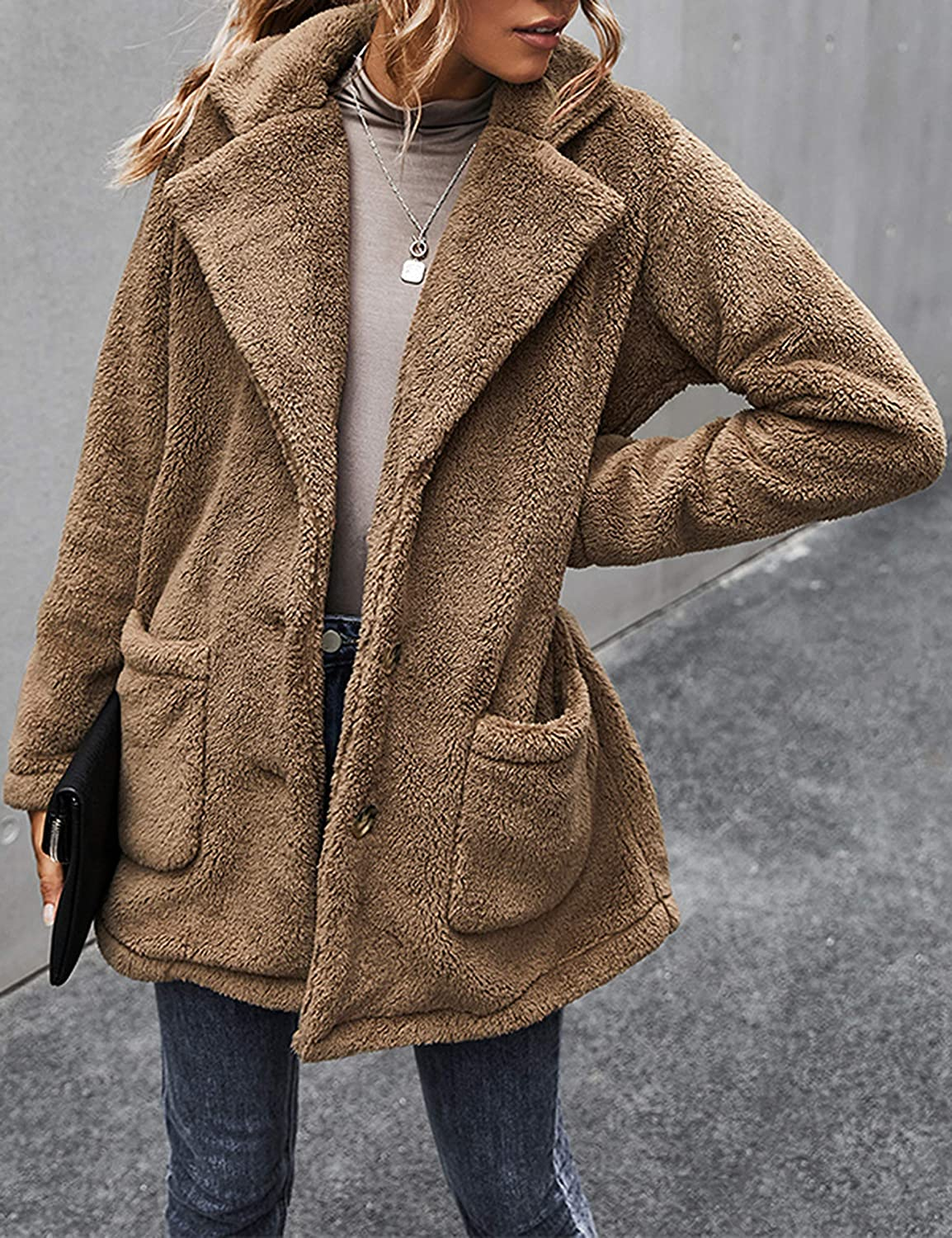 Uaneo Womens Sherpa Fleece Button Front Single Breasted Notched Lapel Teddy Coats(Khaki-M)