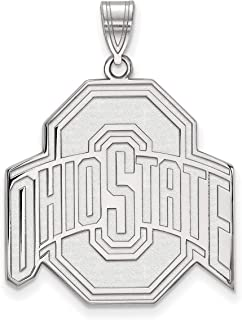 Ohio State University Buckeyes School Logo Pendant in Sterling Silver 25x25mm