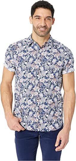 Short Sleeve Pineapple Print Woven Shirt