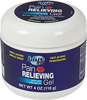 Best BLUE GOO PAIN RELIEVING GEL, 4 Ounce, Fast Acting, Cooling/Soothing Relief, for Back/Neck Pain, Muscle/Joint Pain, Arthritis, Sprains, Bursitis, Strains, Tendonitis, made with 100% PURE EMU OIL Review