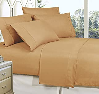 Celine Linen Best, Softest, Coziest Bed Sheets Ever! 1800 Thread Count Egyptian Quality Wrinkle-Resistant 4-Piece Sheet Se...
