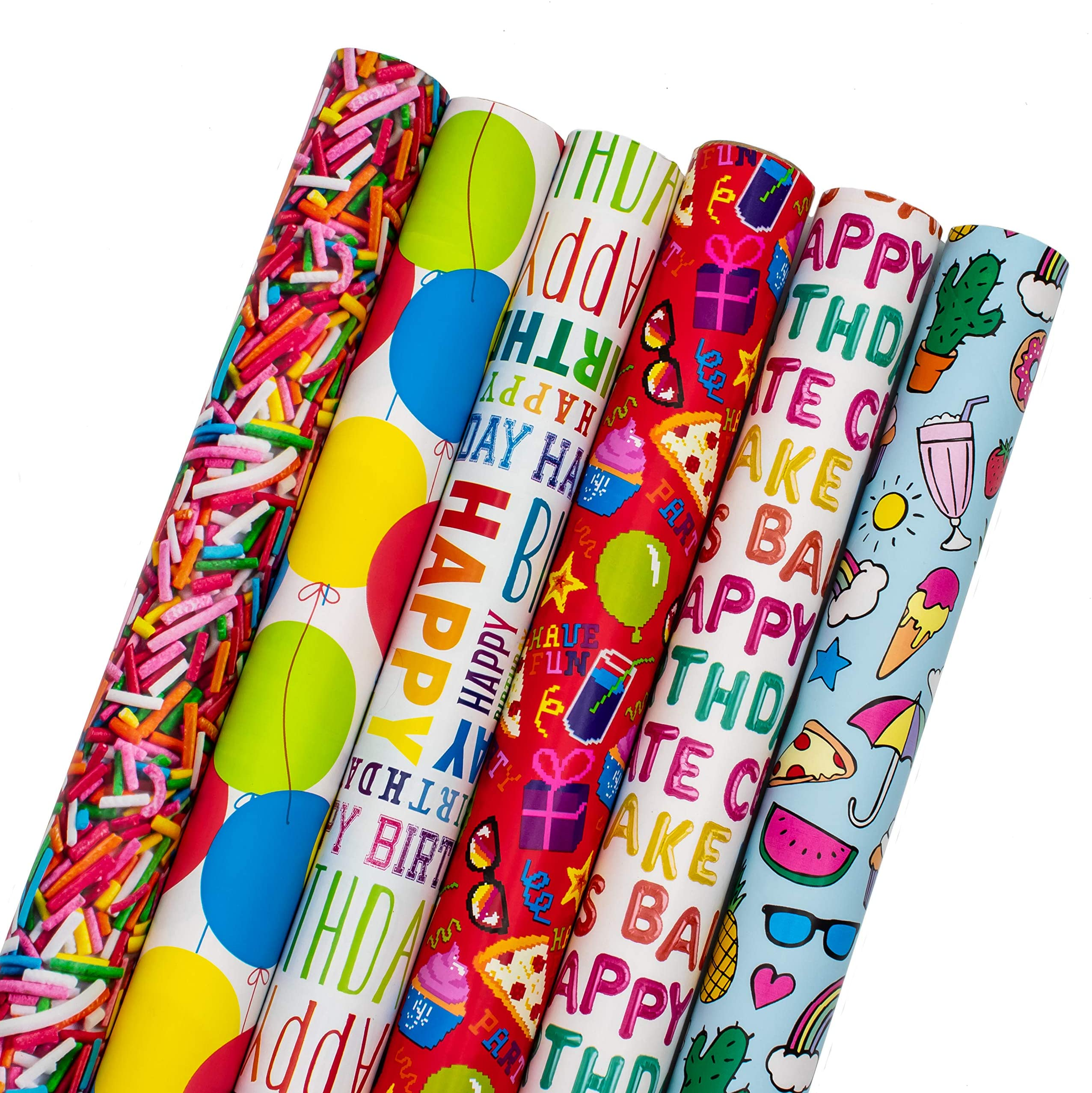 B-THERE Birthday Gift Wrap Wrapping Paper for Boys, Girls, Adults. 6 Cute & Funny Different Designs of 6 ft X 30 Roll! Includes Cactus, Fruit, Rainbows, Rainbow Sprinkles, Pizza, Balloons, Donuts