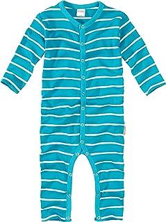 wellyou Schlafanzug, Pyjama für Jungen und Mädchen, Einteiler Langarm, Baby Kinder, türkis weiß gestreift, Geringelt, Feinripp 100% Baumwolle