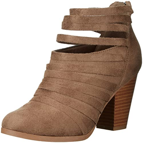 e948bb9cedf Womens Chunky Heel Strappy Faux Suede Ankle Bootie