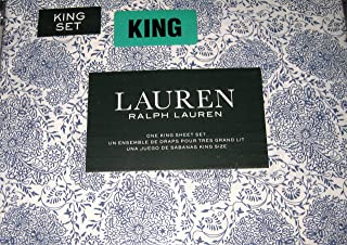 Lauren King Size Floral Sheet Set Blue and White Cotton
