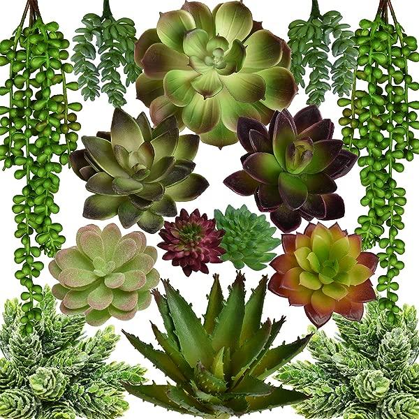 Seeko Artificial Succulents 14 Pack Create Realistic Succulent Arrangements Faux Potted Succulent Decor And Fake Succulent Planters