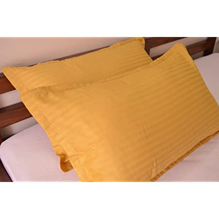 Trance Home Linen 100% Cotton Pillow Covers (18X28-inch, Golden Yellow) - Pack of 2
