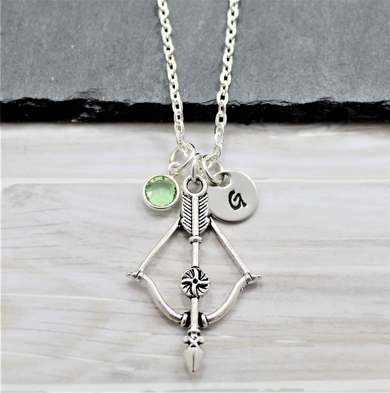 Bow and Arrow Archery Necklace - Personalized Birthstone & Initial - Archery Jewelry - Fast Shipping