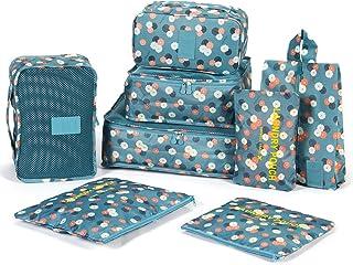 DOKEHOM DKA3002G 8/9 点セット アレンジケース、トラベルポーチ、旅行収納ポーチ 、パッキング インナーバッグ-3個衣類収納+3個ポッチ+1個靴バッグ+(1個下着ケース+1個洗面用具入れ)全2色