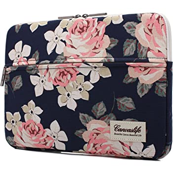 canvaslife White Rose Pattern 13 inch Canvas Laptop Sleeve with Pocket 13 inch 13.3 inch Laptop case 13 case 13 Sleeve