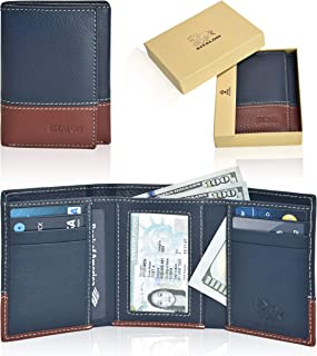 Leather wallets for men- Travel wallet slim wallet mens leather wallet with rfid blocking card