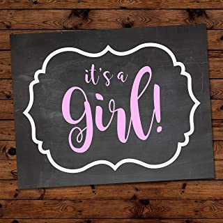 It's a Girl -Gender Reveal Party Decoration for Baby Announcement and Baby Showers, Size 11x14 Inches Black Chalkboard Finish