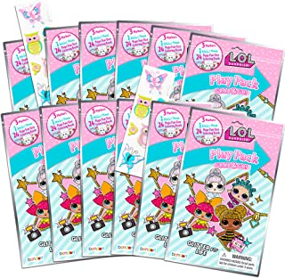 Dolls LOL Coloring Book Party Favor Packs ~ Bundle of 12 LOL Grab n Go Play Packs Filled with Stickers and Mini Coloring Books with Bonus Puffy Stickers (LOL Party Supplies)
