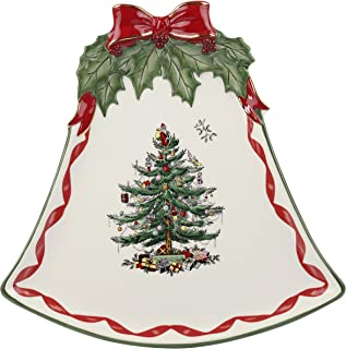 Spode Christmas Tree Ribbons Bell Shaped Coupe Plate, Gold