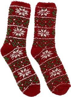 Women's Christmas Holiday Fuzzy Slipper Socks (2 Pr)