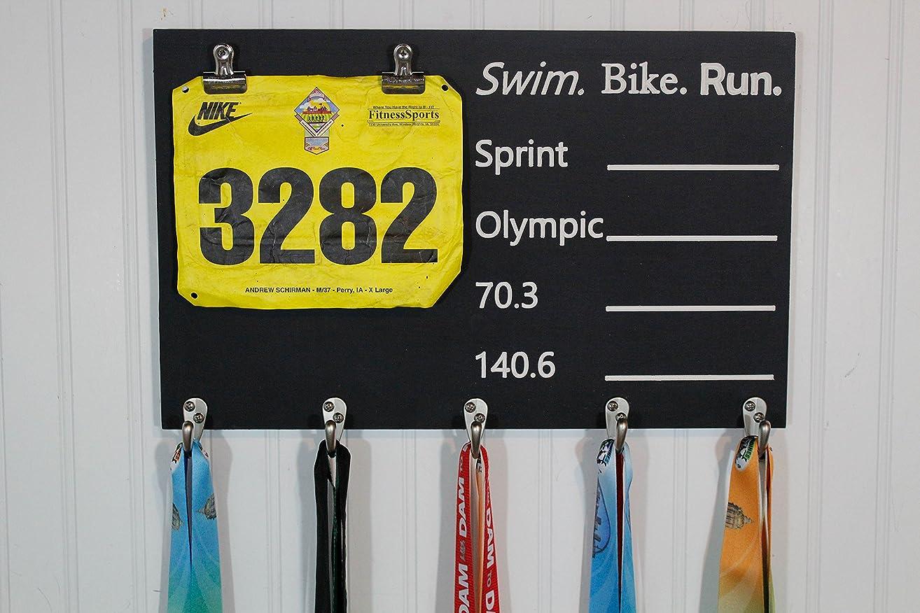 Triathlon Medal Holder - Swim Bike Run Chalkboard Medal holder and bib holder - Carved Sign