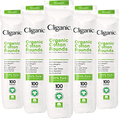 Cliganic Organic Cotton Rounds (500 Count) Makeup Remover Pads, Hypoallergenic, Lint-Free | 100% Pure Cotton