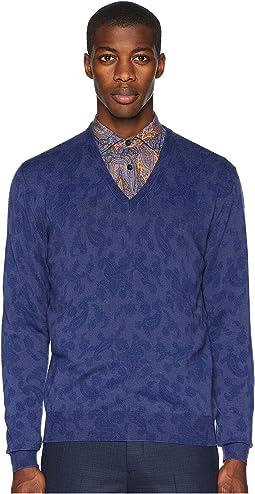 Printed V-Neck Sweater