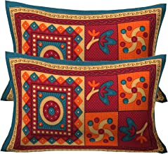 Rajasthanikart 100% Cotton Jaipuri Traditional Bedsheet - Kantha Print (Pillow Cover, Green)