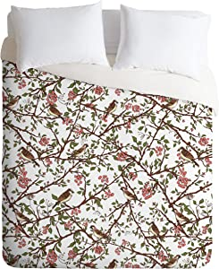Deny Designs Belle13 Sparrow Tree on a Spring Day Duvet Cover, Twin/Twin XL
