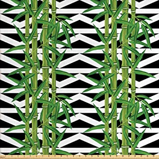 Lunarable Bamboo Fabric by The Yard, Japanese Jungle Eco Theme Tropical Nature Growth with Geometric Backdrop, Decorative Fabric for Upholstery and Home Accents, 1 Yard, Green Black