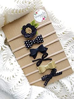 Neutral in Black Baby Bows and Headbands Made in USA