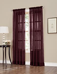 No. 918 Erica Crush Sheer Voile Curtain Panel, 51-Inch by 84-Inch, Burgundy