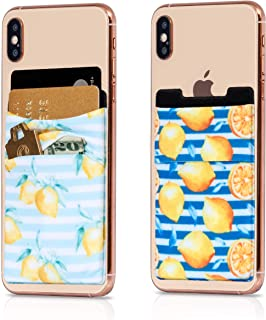 (Two) Stretchy Cell Phone Stick on Wallet Card Holder Phone Pocket for iPhone, Android and All Smartphones (Stripes)