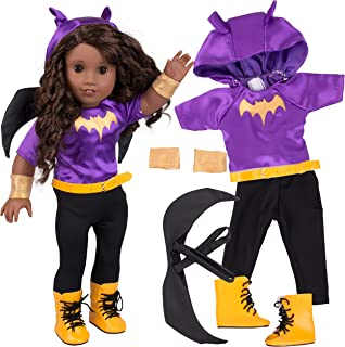 """Batgirl Inspired Doll Outfit (6 Piece Set) - Super Hero DC Comics Costume Fits American Girl & All 18"""" Dolls - Includes Clothes & Accessories - Premium Quality DC Apparel"""