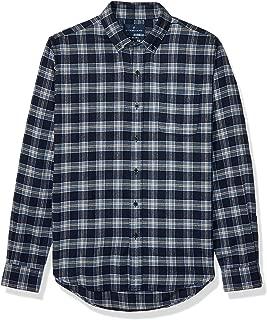 Buttoned Down Amazon Brand Men's Slim Fit Supima Cotton Plaid Flannel Sport Shirt, Navy/Tan, X-Large