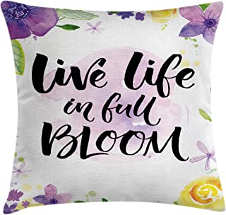 Ambesonne Lifestyle Throw Pillow Cushion Cover, Live Life in Full of Blooms Motivational Words with Floral Violets Print, Decorative Square Accent Pillow Case, 18