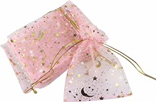 QIANHAILIZZ 100 Moon Star Organza Jewelry Gift Pouch Candy Pouch Drawstring Wedding Favor Bags (Pink, 7 x 9 inch)