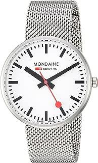 Mondaine Women's SBB Swiss-Quartz Watch with Stainless-Steel Strap, Silver, 18 (Model: A763.30362.16SBM)