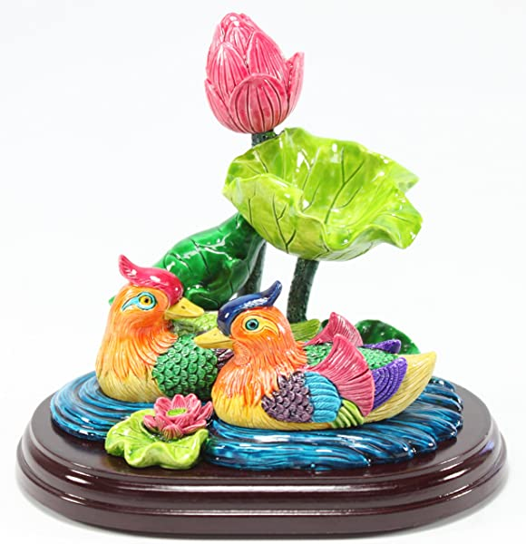 Feng Shui Mandarin Duck In Lotus Pond Statues Figurine Wealth Lucky Figurine Home Decor Gift US Seller Mandarin Ducks LY054