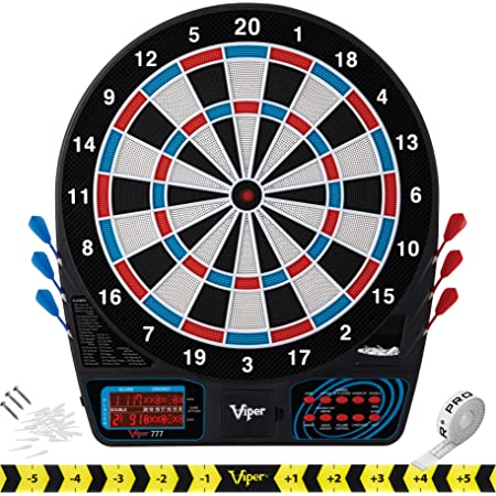 Viper by GLD Products 777 Electronic Dartboard Sport Size Over 40 Games Auto-Scoring LCD Cricket Display Impact-Tough Target for Lasting Durability and Ultra-Thin Spider for Fewer Bounce Outs with Soft Tip Darts, black, one size