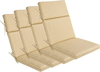 Bossima Indoor/Outdoor Light Yellow/Cream Speckle Pattern High Back Chair Cushion, Set of 4,Spring/Summer Seasonal Replacement Cushions