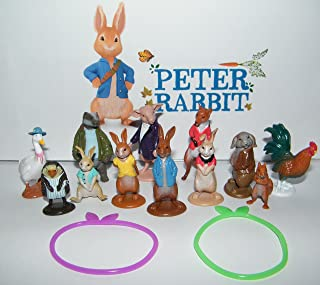 Peter Rabbit Deluxe Figure Set of 14 Toy Kit with Figures and Toy BunnyBracelets featuring Peter, His 3 Sisters, Tommy Brock, Nutkin, Mr.Tod and Many More!