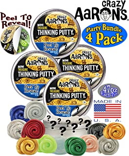 Crazy Aaron's Thinking Putty Mini Tins Treasure Surprise Peel to Reveal (Collect All 12 Colors) Gift Set Party Bundle - 4 Pack (.47oz Each) Items are Assorted and May Contain Duplicates