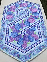 Quilted Table Runner Triangle Swirl Hexagon Table Topper Kitchen Florals in Purple and Blue