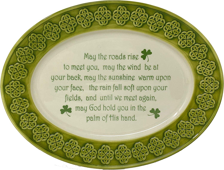 Celtic New popularity Classics Irish Blessing Li Japan's largest assortment Shamrock Relief Pattern