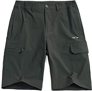 svacuam Men's Knee Length Outdoor Sports Quick Dry Gym Running Shorts Zipper Pockets