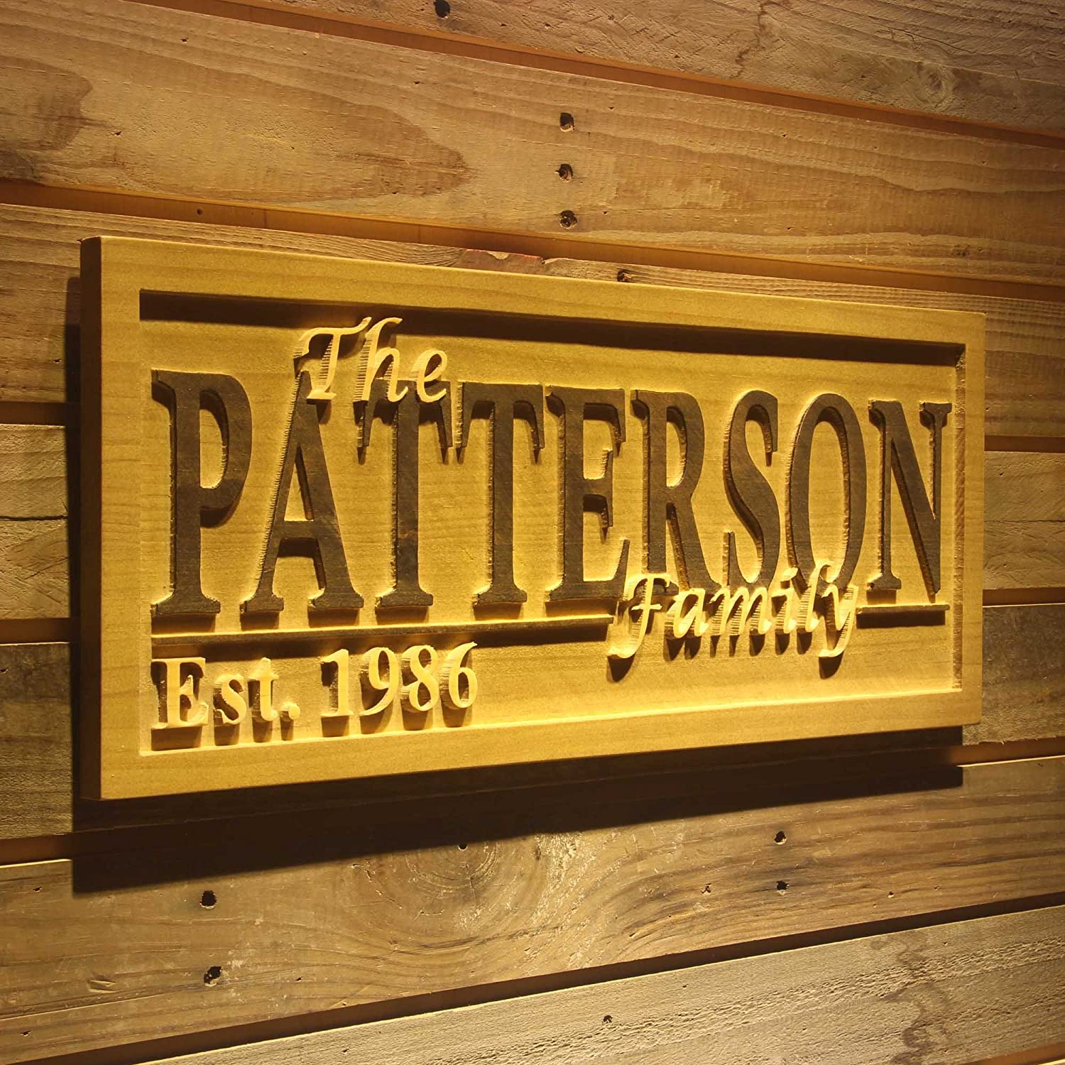 Wpa0037 Name Personalized Last Name First Name Established Date Home Décor Wedding Gift Wooden Sign - Standard 23  x 9.25